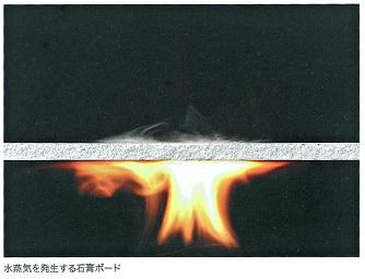 火に触れると水蒸気を発生させる石膏ボード